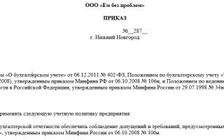 Учетная политика 2011 образец