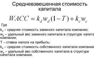 Средневзвешенная цена капитала формула